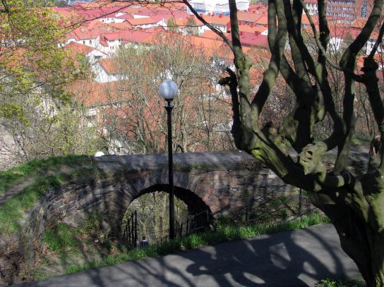 Ett myller av röda tak. Haga sett uppifrån från Skansen Kronan.