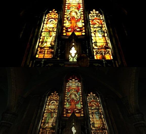 Jämförelse på kyrkan i Silent Hill 3<br />Överst: Ursprungliga versionen<br />Underst: HD-versionen