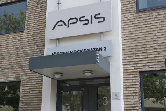 Ingången till Apsis kontor i Malmö, Apsis jobbar med nyhetsbrev som skickas till din e-post.
